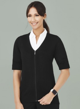 Women's BIZcare Zip Front Short Sleeve Cardigan