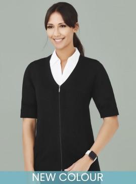 Women's BIZcare Zip Front Short Sleeve Cardigan