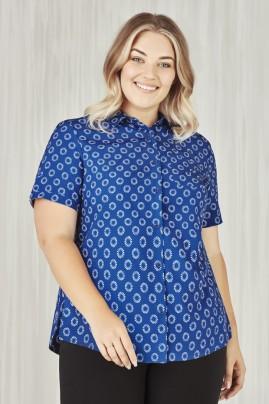 BIZcare Women's Daisy Print Short Sleeve Shirt