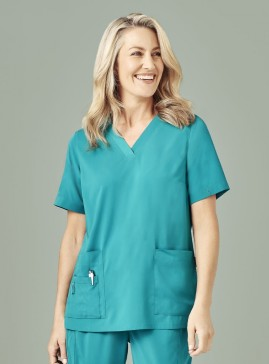 Ladies BIZcare V-Neck Easy Fit Scrub Top