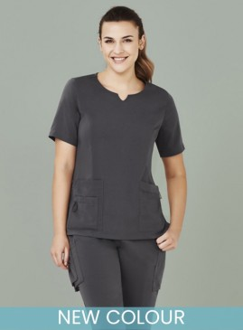 Ladies BIZcare Round Neck Tailored Fit Scrub Top