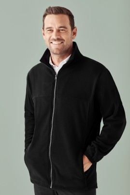 Men's Plain Zip Front Microfleece Jacket