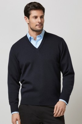 Mens V-Neck Wool Mix Jersey