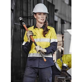 Rugged Cooling Womens Taped Hi Vis Spliced 100% Cotton Shirt